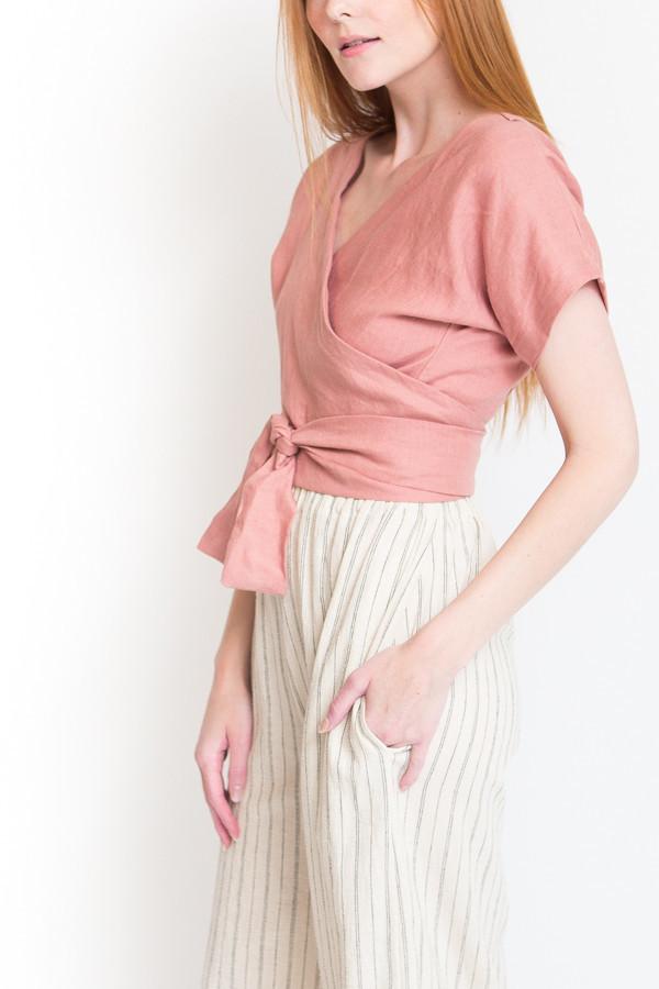 004e169010ba0c Lauren Winter Wraparound Top - Rose Linen. sold out