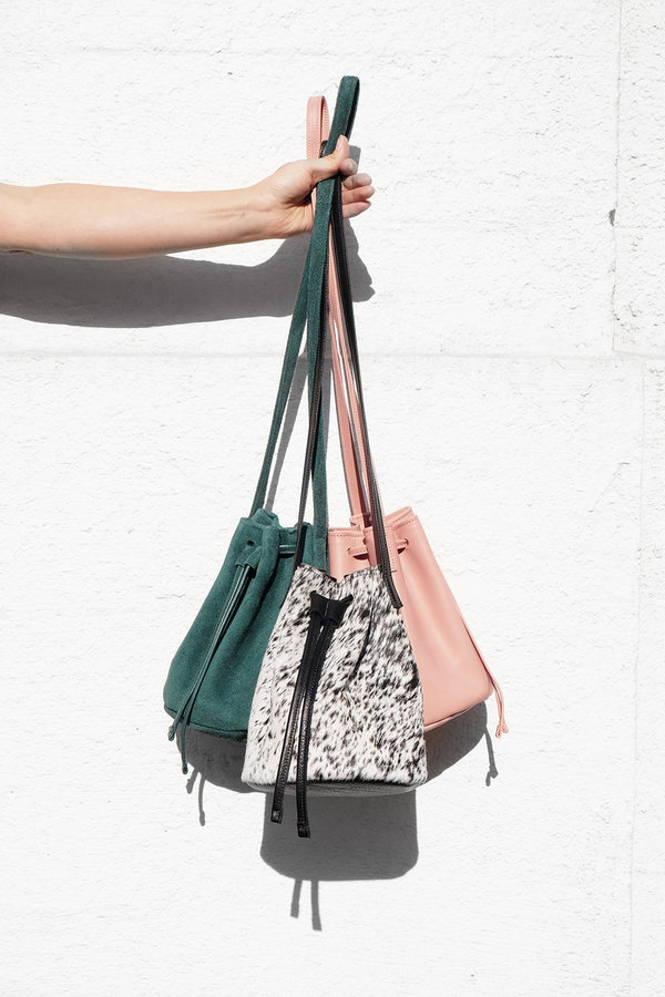 Primecut BLACK + WHITE COWHIDE BUCKET BAG