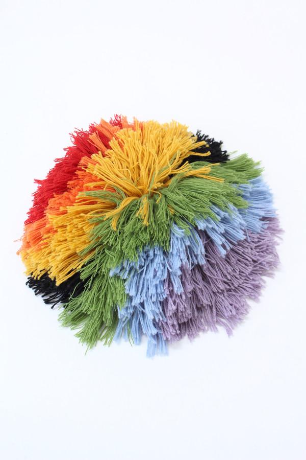 Artist Alpaca Handmade Fringe Pillow - Rainbow Black