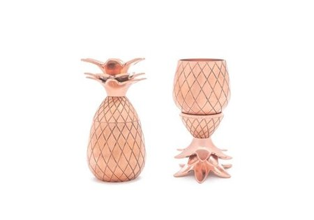W&P Design Copper Tiki Pineapple Shot Glasses - Set of 2