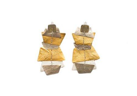 Dos Riberas OCEAN Silver and Gold Long Earrings