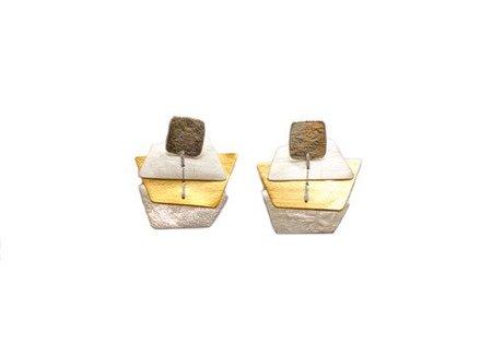 Dos Riberas OCEAN Silver and Gold Medium Earrings