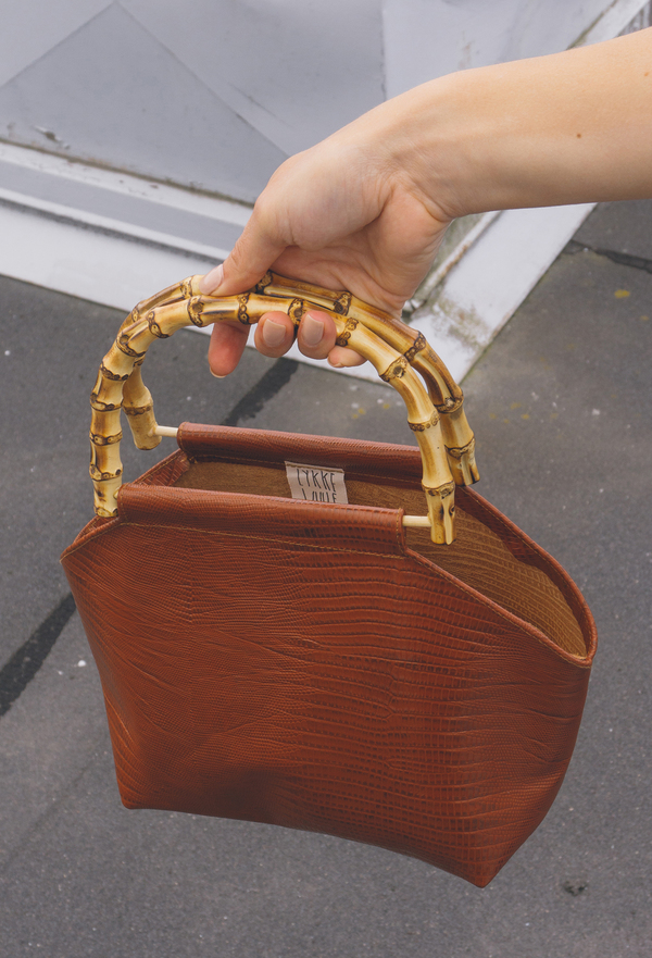 GARMENTORY EXCLUSIVE   Lykke Wullf Recycled Leather Bamboo Bag