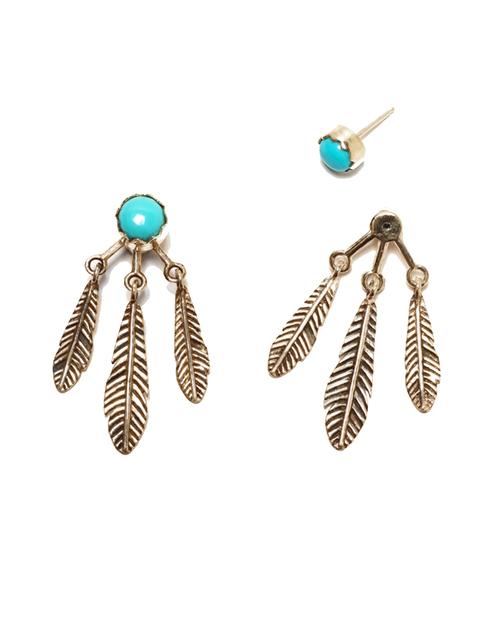 Pamela Love Frida Ear Jacket in Brass & Turquoise
