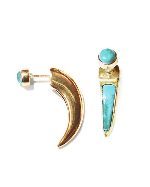 Pamela Love Inlay Horn Ear Jacket in Gold & Turquoise