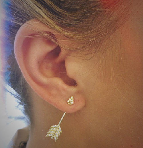 Pamela Love Shooting Arrow Earrings in Brass and White Topaz