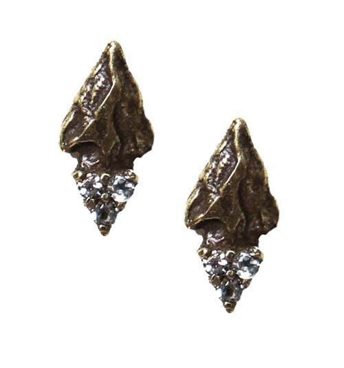 Pamela Love Archer Stud Earrings in Antique Brass with Champagne Diamond Pavé