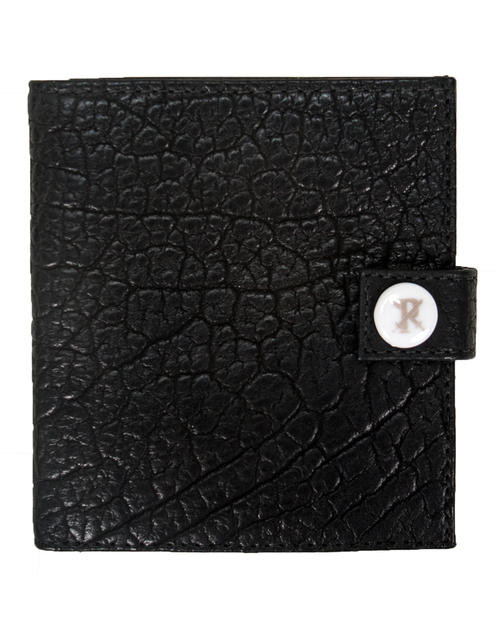Parabellum 10-Card Officers Wallet in Black Bison with White Hardware