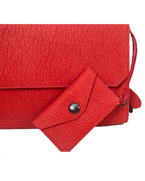 Parabellum Didion Clutch in Tomato Bison with Black Hardware