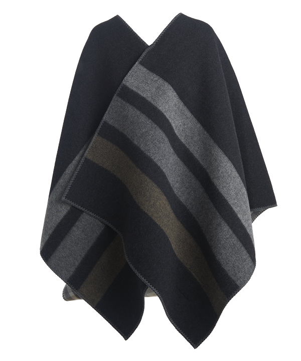54a78a268 Woolrich x Westerlind Reversible Poncho - Black / Grey Stripe and ...