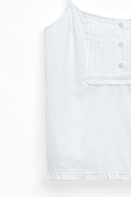 The Sleep Shirt Pin Tuck Camisole White Royal Oxford