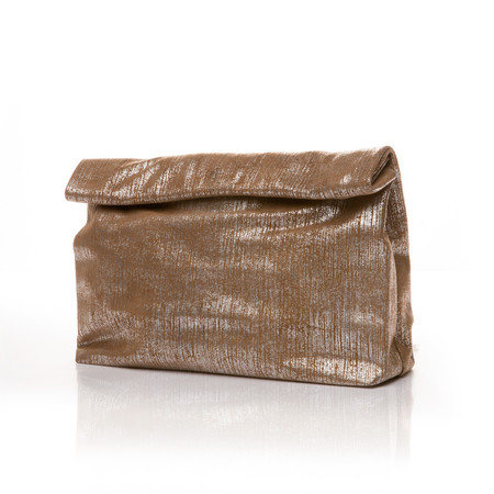 Marie Turnor The Lunch Clutch - Sand Shimmer Suede