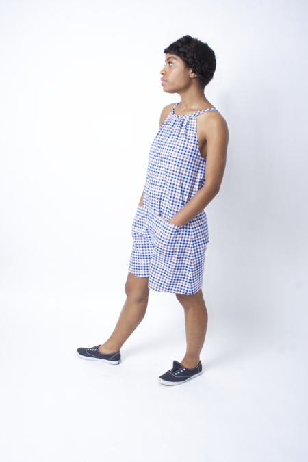 Carleen Bart Romper - Blue/Brown Plaid