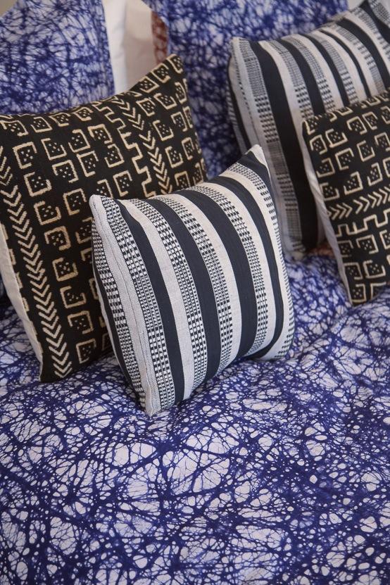 Osei-Duro Handwoven Pillow   Black and White Stripe