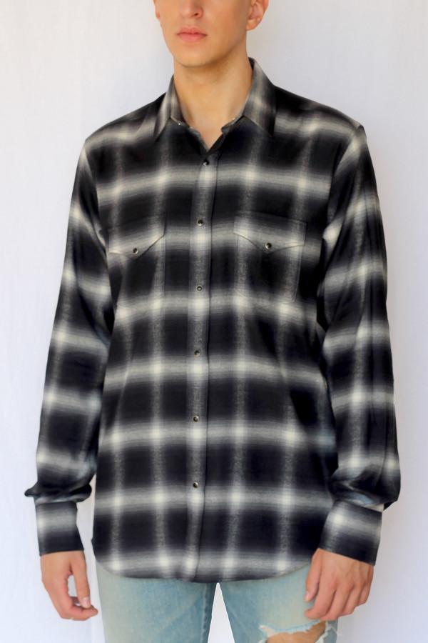 5f9c7af2 Commun des Mortels shadow plaid western shirt - asphalt | Garmentory