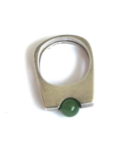 Vintage Collection Silver and Jade Minimalist Ring