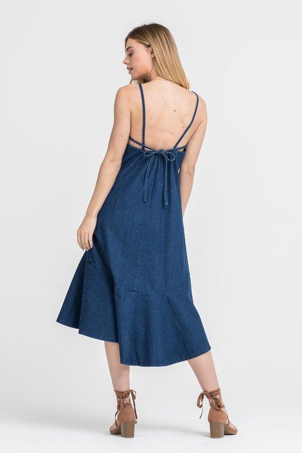 Lush Beiba Denim Ruffle Midi Dress
