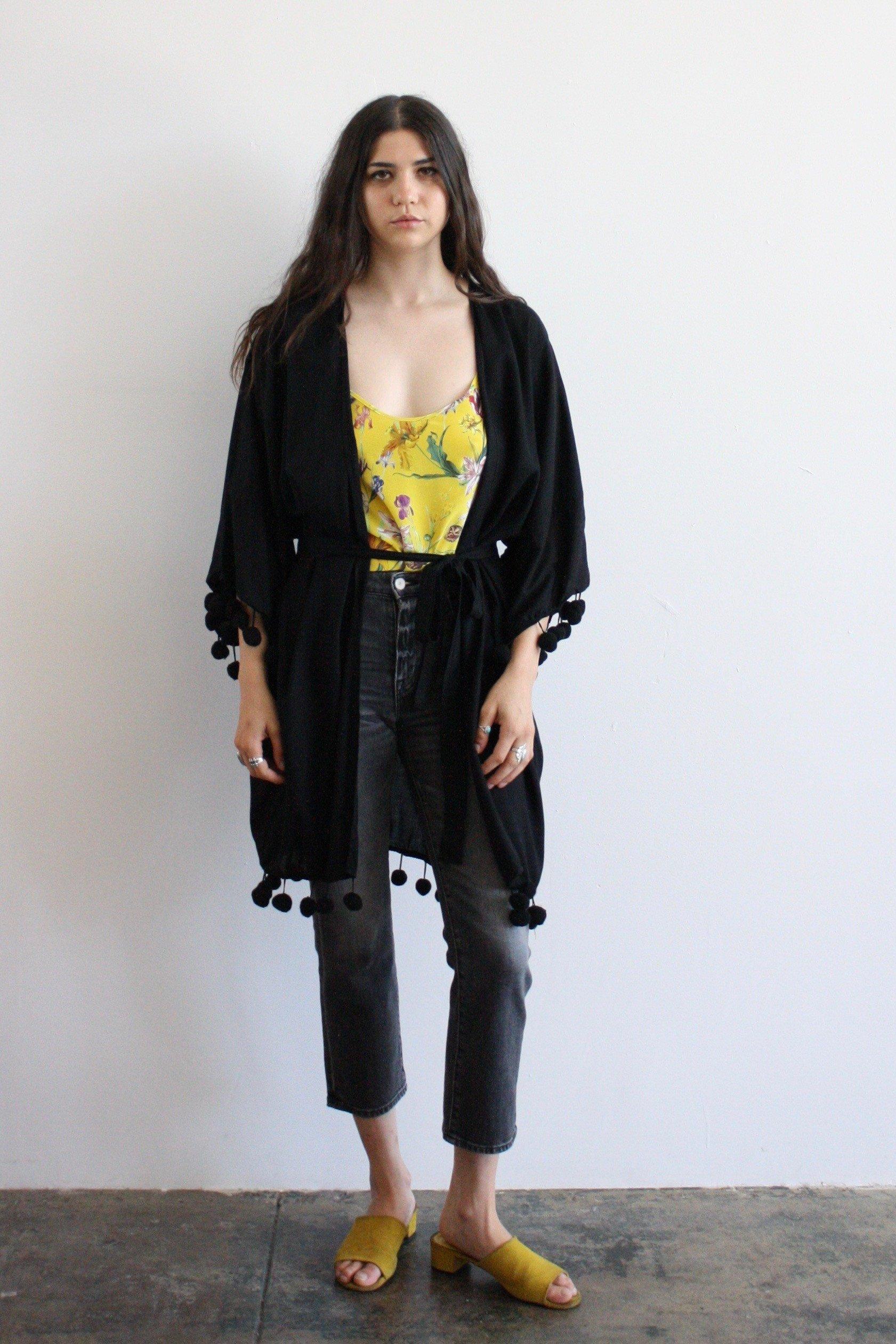 2ac31a1252 Emerson Fry Pom Pom Kimono Black | Garmentory