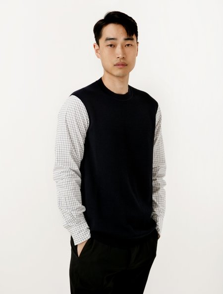Marni Squared Combo Sweater - Navy