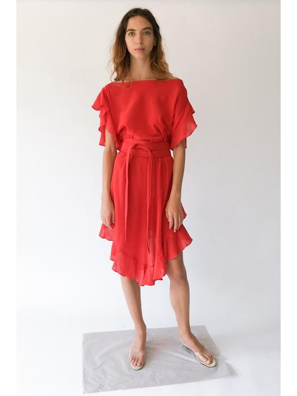 Electric Feathers Infinite Convertible Ruffled Kaftan - Bright Red ... 7396acdf467