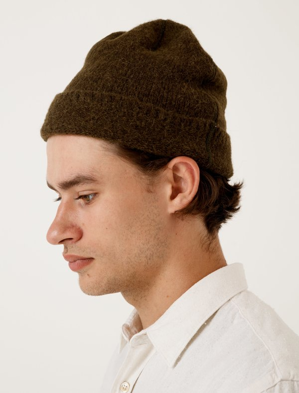 8024c8bf9 Our Legacy Knitted Hat Dark Olive Needled