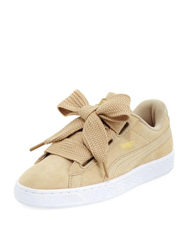 newest collection fd1df e4199 Puma Suede Heart Satin Sneakers - Safari