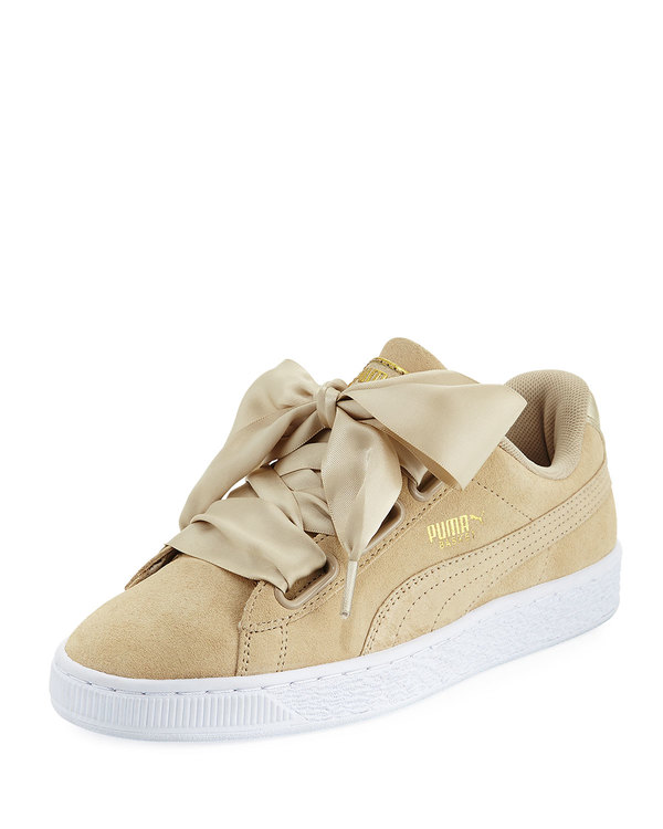 buy popular 40e30 7b932 Puma Suede Heart Satin Sneakers - Safari on Garmentory