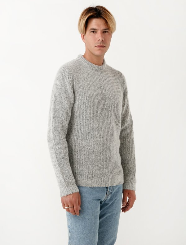 d91f22181 Norse Projects Mens Arild Brushed Alpaca - Light Grey Melange ...