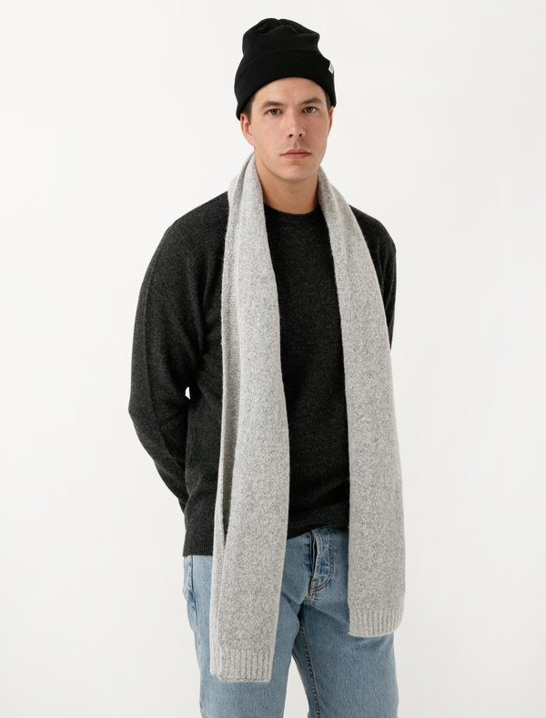 Norse Projects Mens Norse Brushed Scarf - Light Grey Melange ... 0706e289552