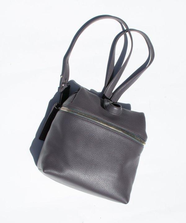 9bab285b09 Kara Slate Grey Pebble Leather Small Backpack