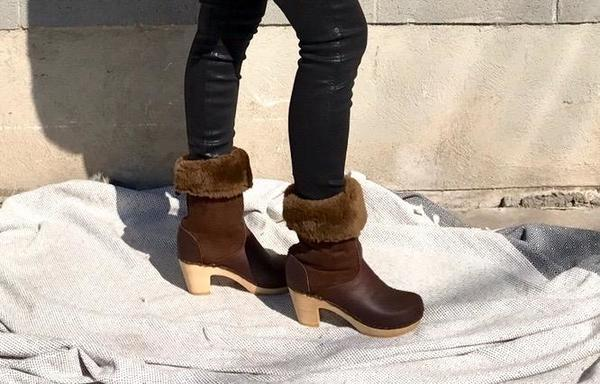 No 6 9 Quot Pull On Shearling Clog Boot On High Heel