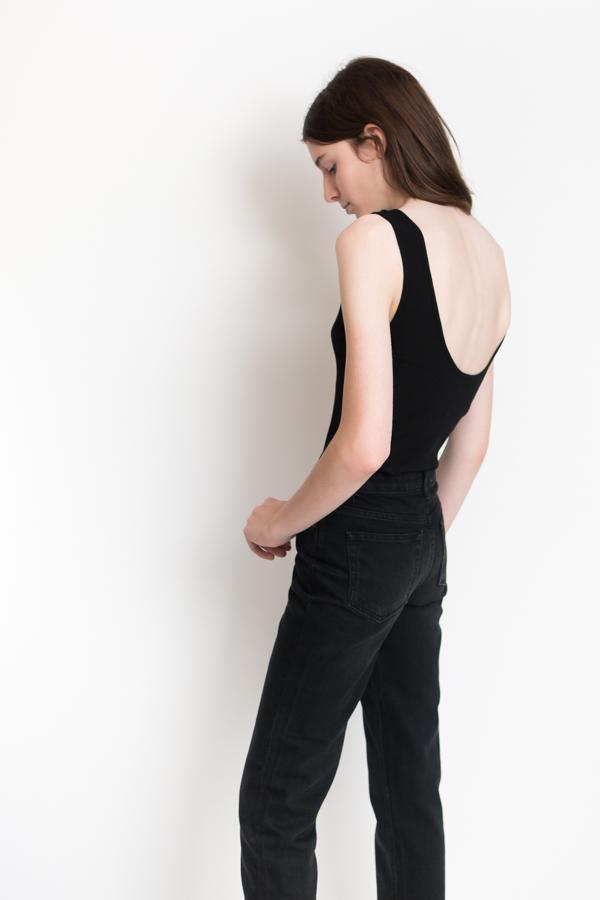 d07cba6013a4 BLQ Basiq Ribbed Scoop Back Bodysuit - Black | Garmentory