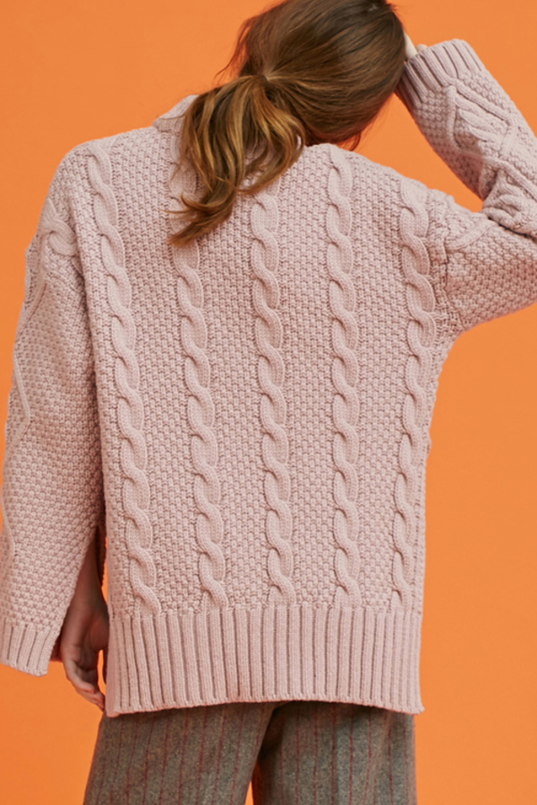 Another Twisted Slit Knit - Pink
