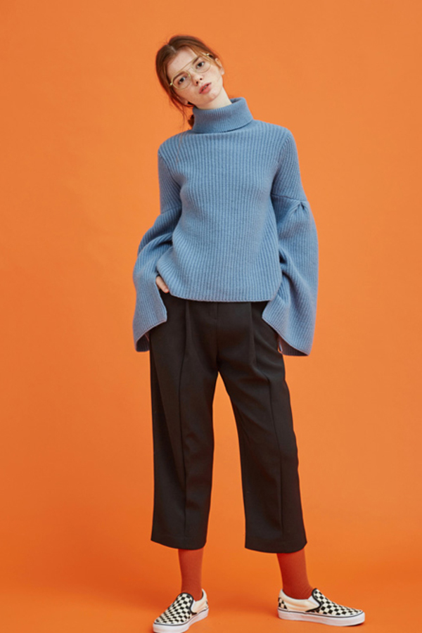Another. Bell Sleeve Turtleneck Knit- Blue