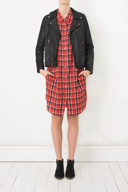 Ganni Plaid Flannel Shirt Dress