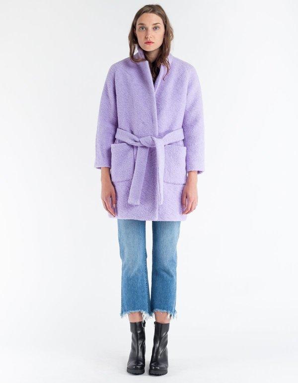 Ganni Fenn Wrap Coat Pastel Lilac Garmentory