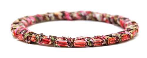 Alyssa Norton Red and Pink Fabric Wrapped Bangle with Red Baguette Rhinestones