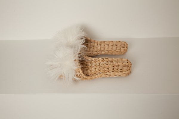 Cream lamb fur handwoven slipper