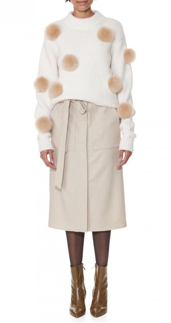 Tibi Alpaca Pompom Crop Sweater Garmentory