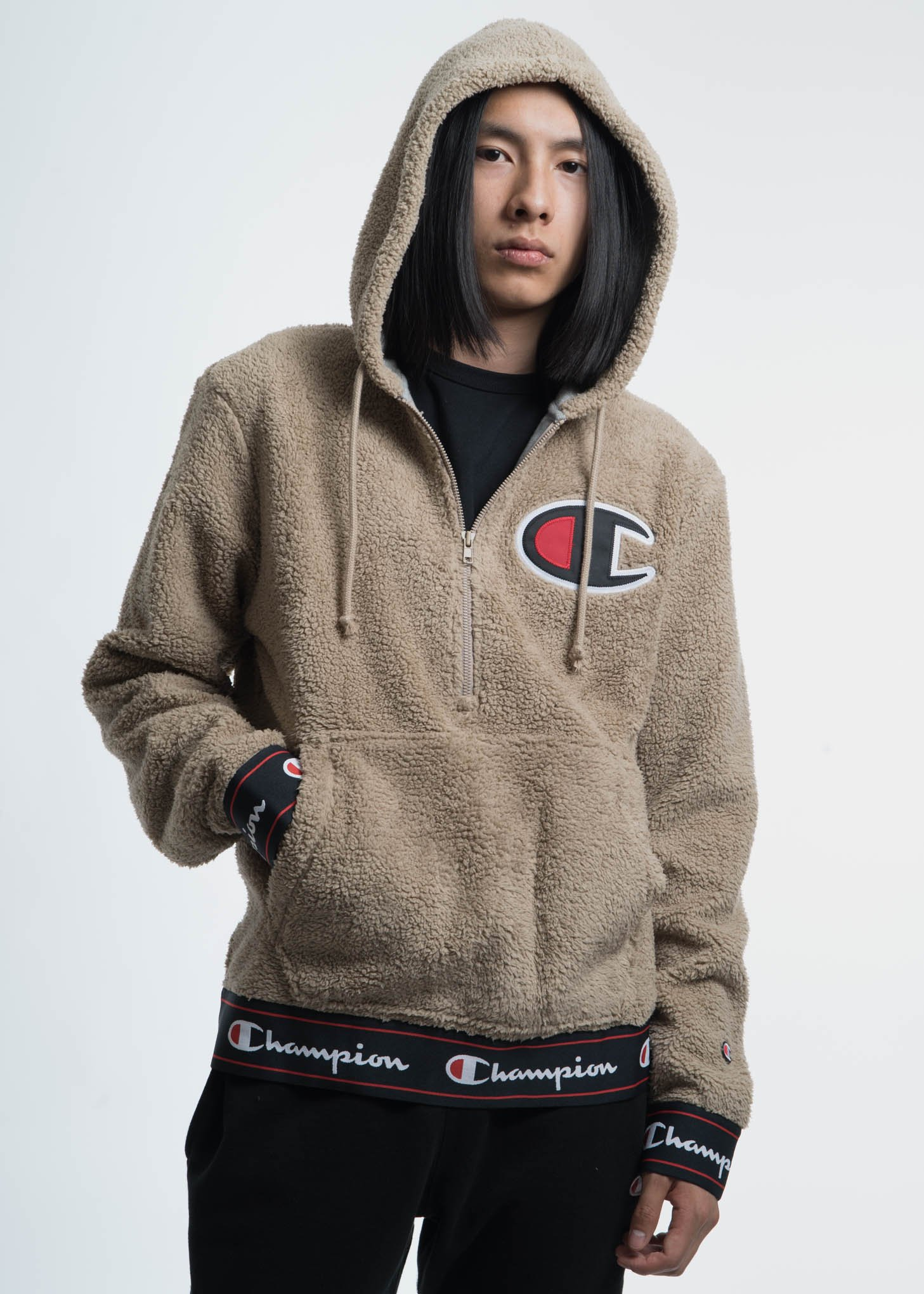 Champion Reverse Weave Khaki Sherpa Pullover Hoodie