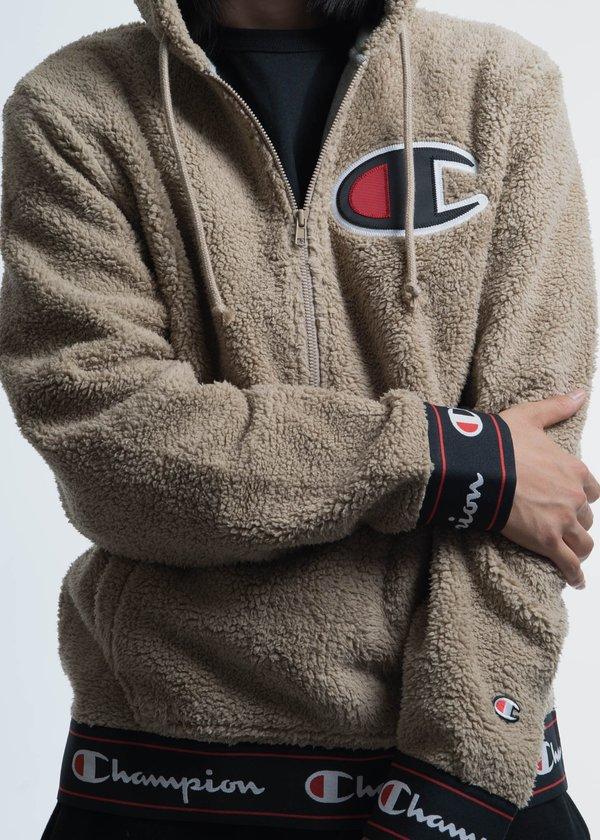 timeless design e5f52 55ec5 Champion Reverse Weave Khaki Sherpa Pullover Hoodie