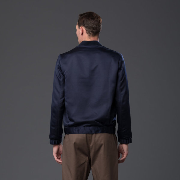 CARLOS CAMPOS - Grosgrain Triangle Bomber - Navy/White (EXCLUSIVE)