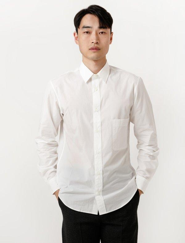 Lemaire mens straight collar shirt chalk garmentory Straight collar dress shirt