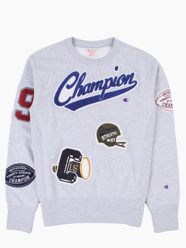 Sweatshirt Weave Patches Crewneck Reverse Multi Champion Garmentory qxAB5Hgwnt