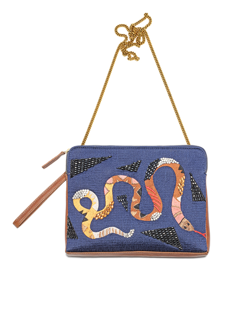 Lizzie Fortunato Safari Clutch in Rattlesnake
