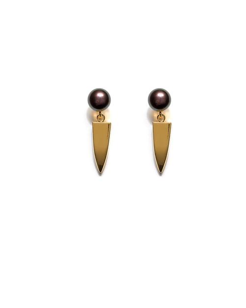 Lizzie Fortunato Pearl Dagger Earrings in Peacock