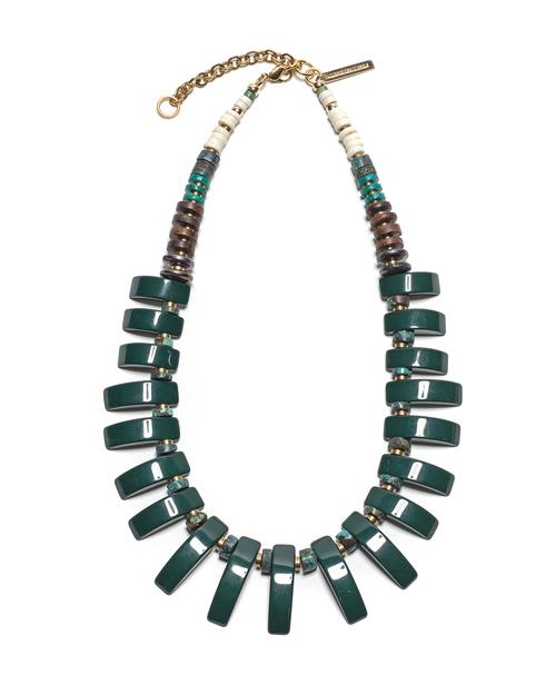 Lizzie Fortunato Dark Green Tile Necklace