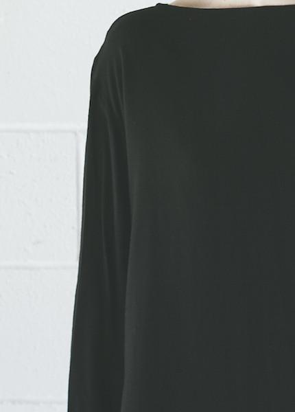 Black Crane Long Slit Top | Black