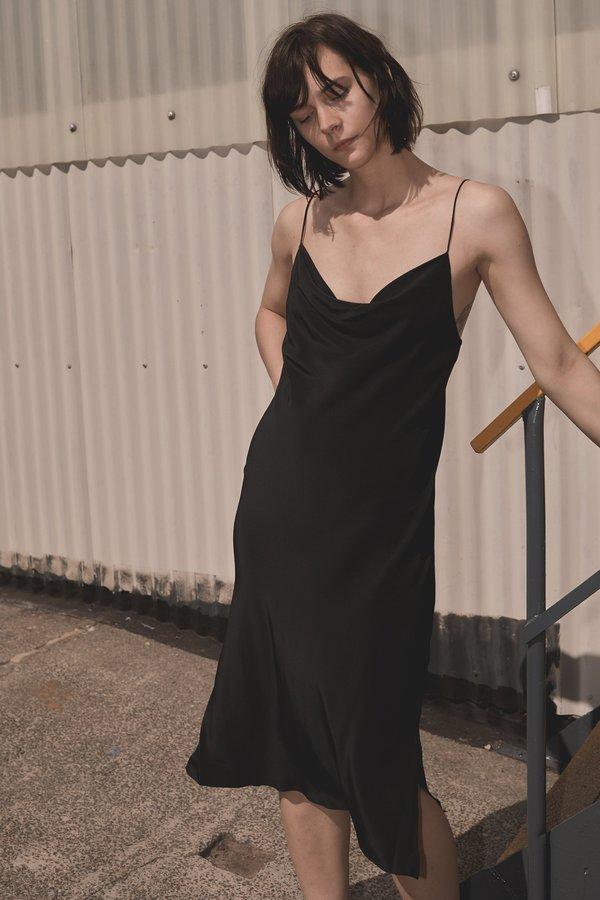8cf8f9641768 GINIA RTW LILLIAN SATIN SLIP DRESS BLACK | Garmentory