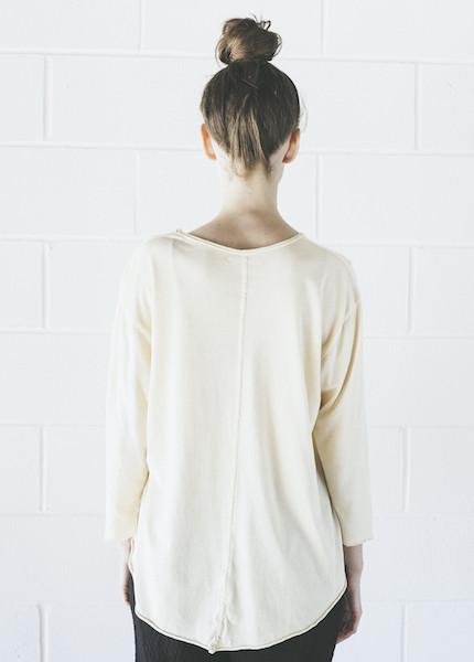 Black Crane Back Seem Long Sleeve in Cream